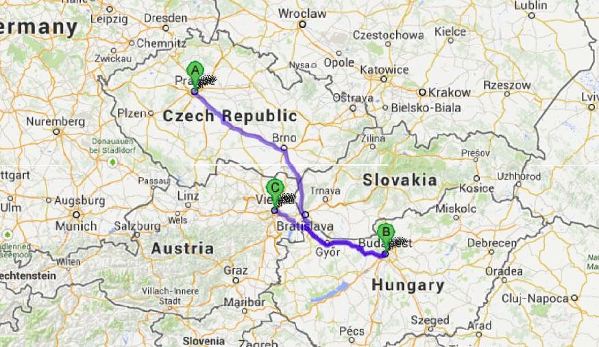 Map - Prague, Budapest, Vienna
