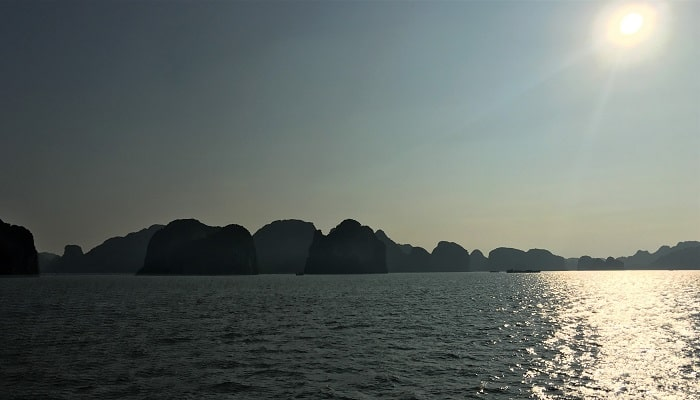 Sailing on Halong Bay in the late afternoon