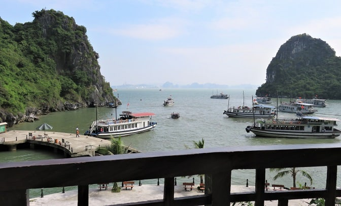 The view looking back at the bay from a Karst - as we visit vietnam