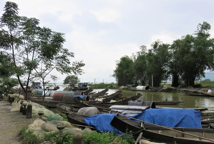Shrimp boats on the way to Hue Vietnam