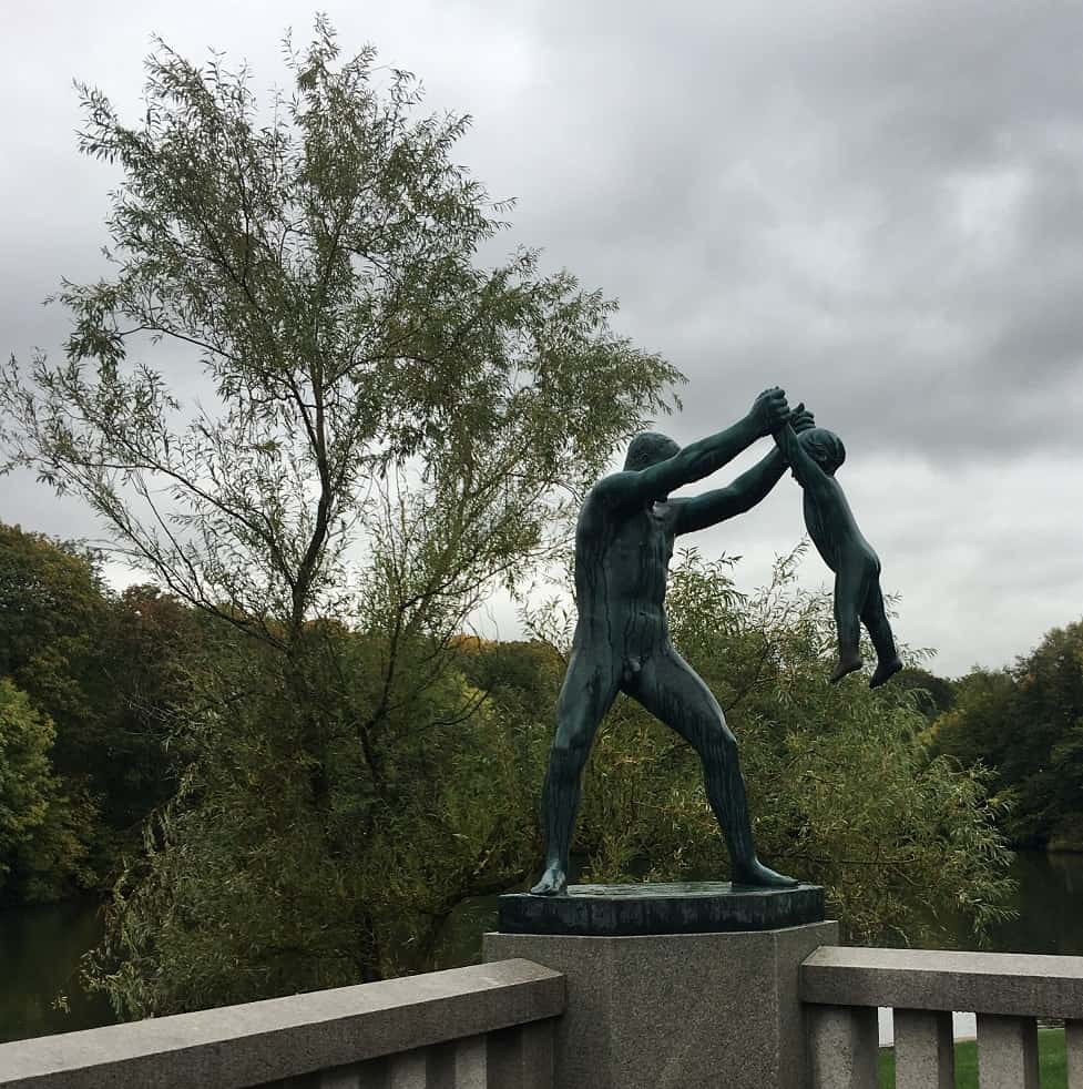 Vigeland Statue in Granite:  Man Swinging Child in the Air