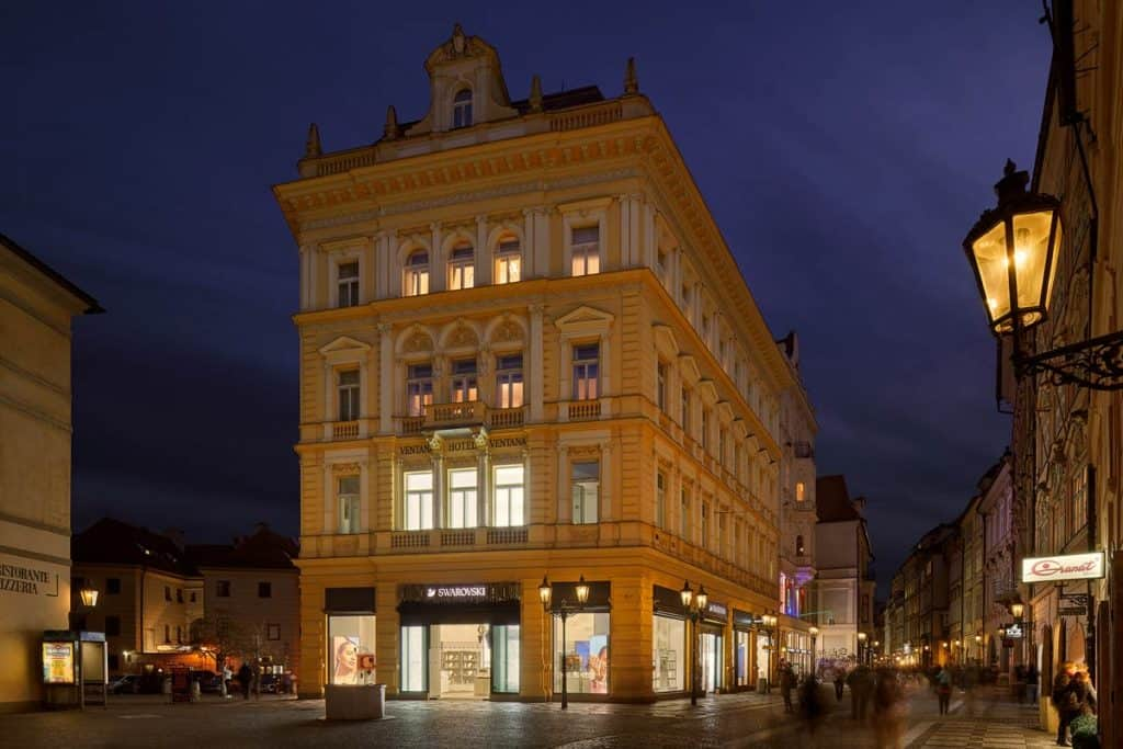Central European Capitals - Ventana Hotel Prague at night