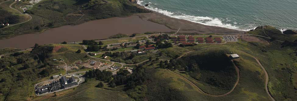 An Aerial View of the Marine Mammal Center at the Marin Headlands.