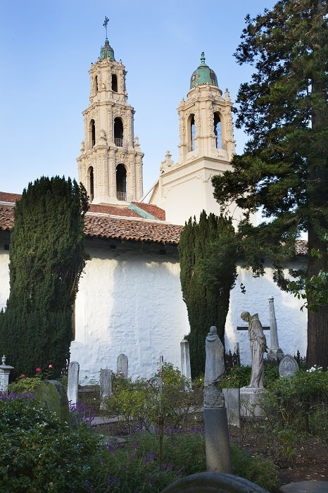 Cemetary Garden Statues Graves Mission Dolores San Francisco Cal