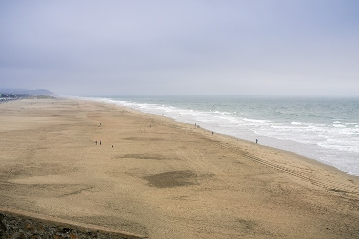 Panoramic view of Ocean Beach, Lands End, California