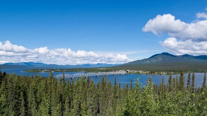 Alaska Highway steel bridge Teslin Yukon Canada