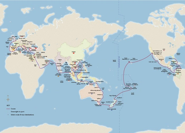 Sample Itinerary map for an Around the World Cruise - Once in a Lifetime!