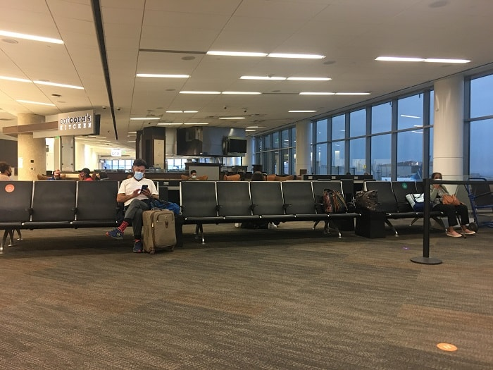 Few people at the gate for the flight
