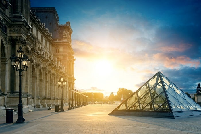 Louvre Museum Paris at sunset