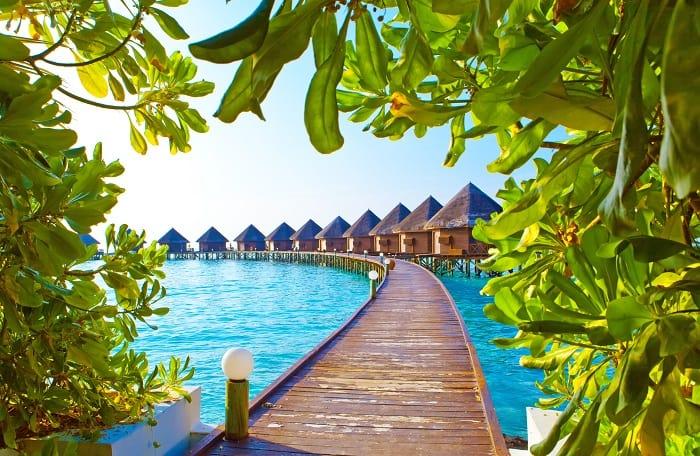 Maldives. Villa on piles on water