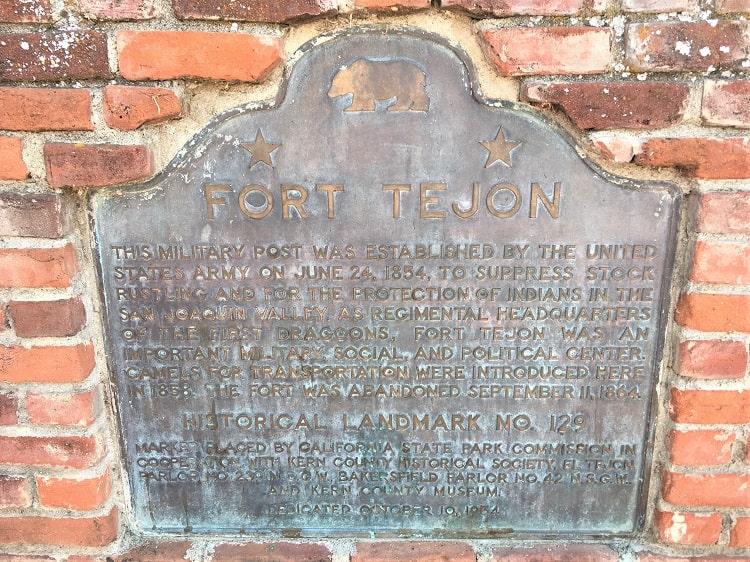 Fort Tejon Plaque