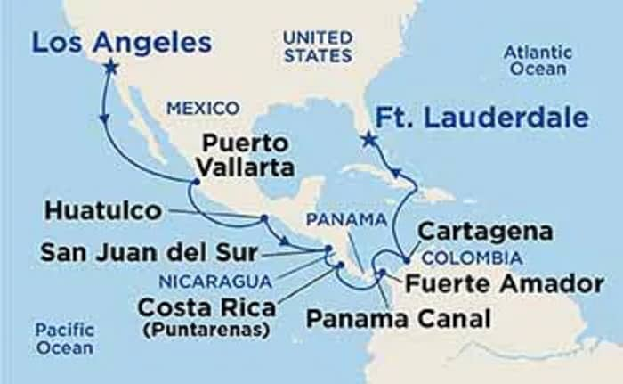 Map of Our Panama Canal Cruise on the Coral Princess