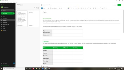 How to organize your travel - Evernote Travel Template