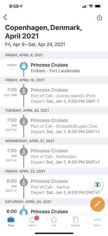 Tripit Itinerary page