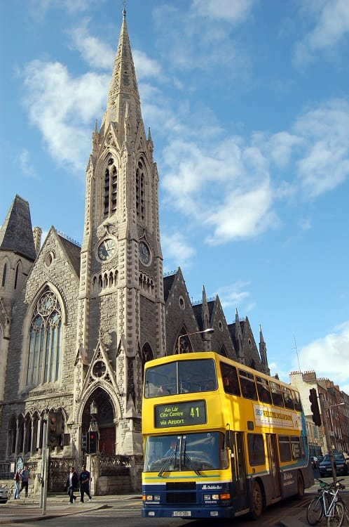 Dublin Bus in Front of Church