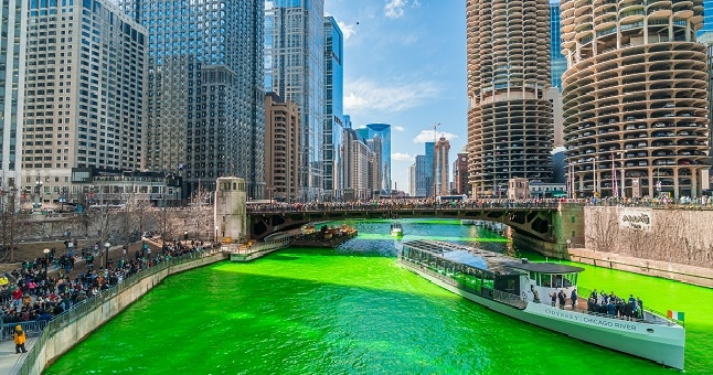A Green Chicago River on St. Patrick's Day