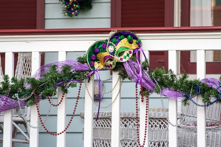 Decorations on a white picket fence - Galveston Texas