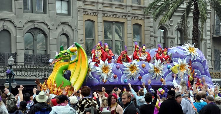 Throwing Beads From the Float in New Orleans