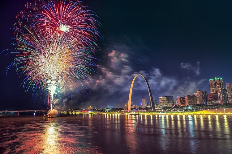 Fireworks Over The River in St. Louis
