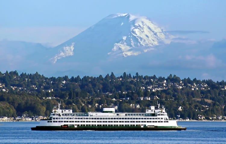 Washington State Ferry Heading to Seattle with Mt. Rainier