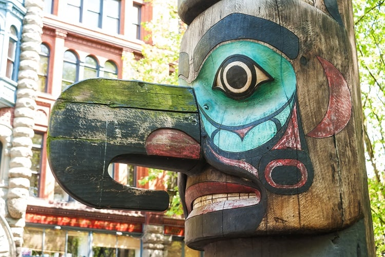 Tinglit Totem in Pioneer Square Seattle