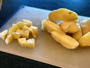 """Cooked Potatoes In 1/2 """" Slices"""