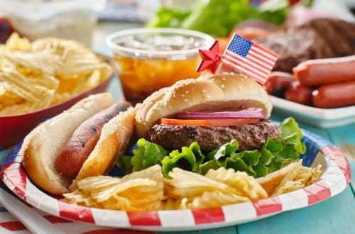 Traditional 4th of July Foods - with hamburger and hot dog