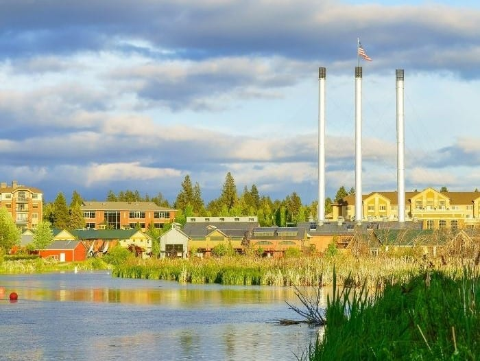 The Old Mill District on the Deschutes River in Bend Oregon