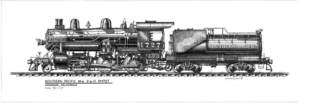 Dunsmuir - SP Locomotive 1727 As Drawn by Charles Endom