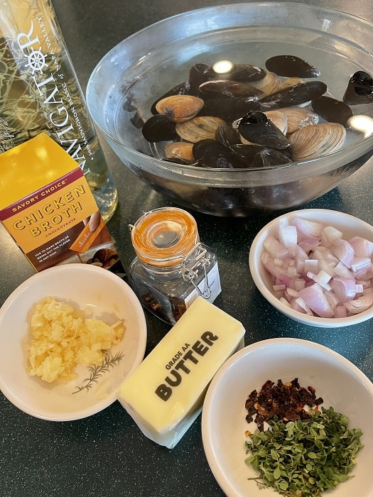 Ingredients for Steamed Mussels and Clams
