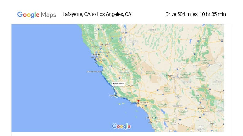 Google Map of Road Trip On California Highway 1